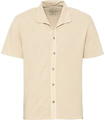 jersey overhemd met korte mouw en piqué-structuur, beige xxl