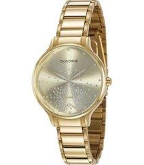 relógio mondaine cristais 53862lpmvde2 38mm aço feminino