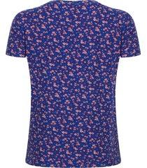 camiseta estampada floral color azul, talla m