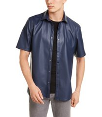 alfani men's faux-leather shirt, created for macy's