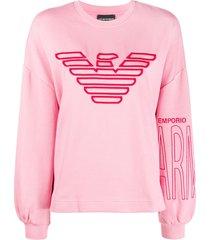 emporio armani embroidered logo loose fit sweatshirt - pink