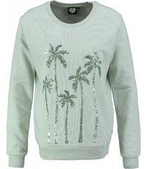 catwalk junkie zachte zachtgroene sweater met pailletten