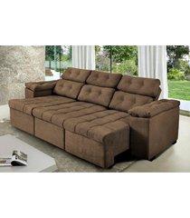 sofa itã¡lia 2,00 mts retrã¡til e reclinavel tecido suede cafã© - cama inbox - incolor - dafiti