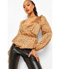 dalmatiër print wikkel blouse, rust