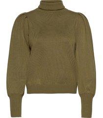 leana roll neck knit turtleneck polotröja grön soft rebels