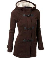 chaqueta abrigo/algodón clásico con gorro manga larga para mujer-marrón