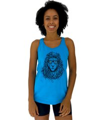 regata feminina alto conceito modern lion azul piscina - azul - feminino - algodã£o - dafiti