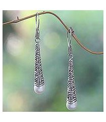 cultured pearl dangle earrings, 'borobudur trumpet' (indonesia)