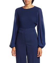 akris punto women's blouson-sleeve plissé blouse - ink - size 12
