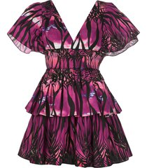 fausto puglisi beach print mini dress - purple