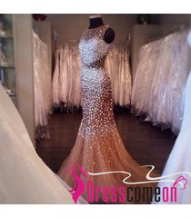 luxury mermaid high neck sequins beaded tulle backless prom/evening/party dress