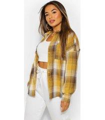petite oversized geruite blouse met zak detail, geel