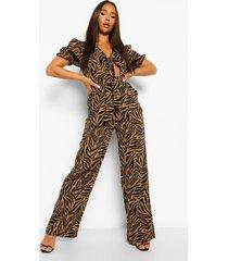 geknoopte zebraprint jumpsuit, brown
