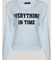 """blusão de moletom feminino muscle """"everything, in time"""" com sobreposição branco"""