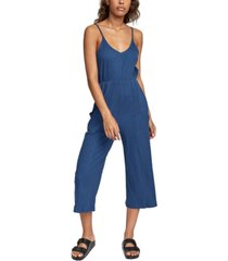 rvca juniors' ribbed-knit cropped jumpsuit