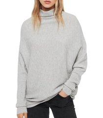 allsaints ridley funnel neck wool & cashmere sweater, size large in artic grey at nordstrom