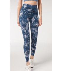 calzedonia tie dye active leggings woman blue size xl
