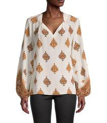 kobi halperin women's ryan printed silk blouse - ivory multi - size m