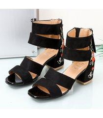 sandalias de tacón grueso para mujer de punta abierta bloque bordado estilo