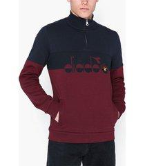 lyle & scott printed logo half zip tröjor burgundy