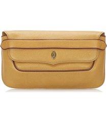 cartier must de leather clutch bag brown, light brown, red, bordeau sz: m