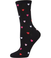 women's delicate hearts rayon from bamboo crew socks