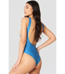 hannalicious x na-kd high cut swimsuit - blue