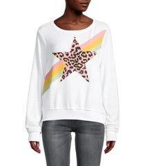 wildfox women's leopard star sweatshirt - clean white - size m