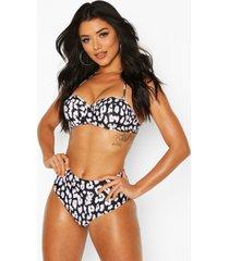 bikinislip met hoge taille en luipaardprint, zwart