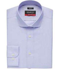 awearness kenneth cole awear-tech blue patterned slim fit dress shirt