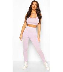 basic leggings met hoge taille, lila