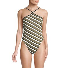 solid and striped women's the sandra striped one-piece swimsuit - stripe olive - size m