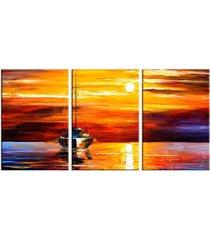 conjunto de telas decorativas pintura barcos a vela médio love decor