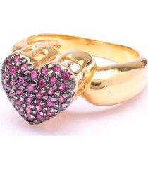 anel boca santa coração de princesa rubi - ouro amarelo