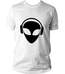 camiseta criativa urbana et alien dj branco