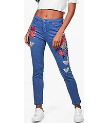 sarah high rise heavy embroidered skinny jeans