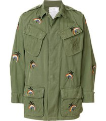 as65 jungle embroidered military jacket - green