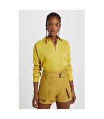 camisa ampla de linho com bolsos color amarelo yoko - p