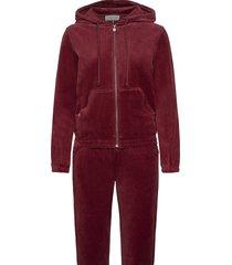 velour tracksuite sweat-shirts & hoodies tracksuits - sets rood rosemunde