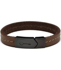 pulseira key design masculina hustle leather black