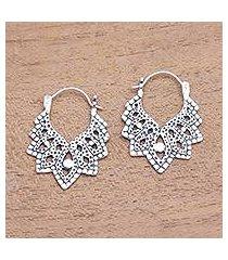 sterling silver hoop earrings, 'beautiful pattern' (indonesia)