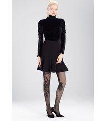 knit crepe ruffle hem skirt, women's, black, size 10, josie natori