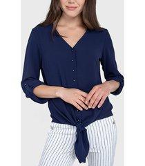 blusa ash lisa con nudo azul - calce regular