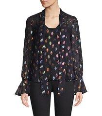 lauren floral-print silk-blend top