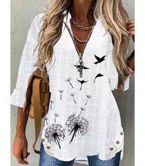 camicetta a maniche lunghe con cerniera frontale con stampa di uccelli floreali