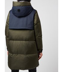 mackage women's inari hooded down coat - navy/army - s