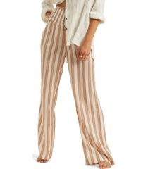 women's billabong new waves 2 stripe wide leg pants, size small - brown