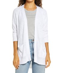 petite women's caslon linen blend open front cardigan, size large p - white