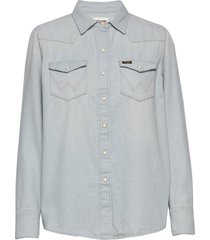 27ww långärmad skjorta blå wrangler