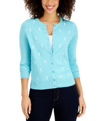 charter club seahorse-print cardigan, created for macy's